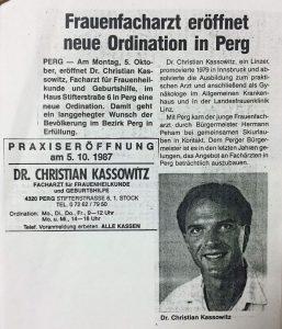 Praxiseröffnung 1987